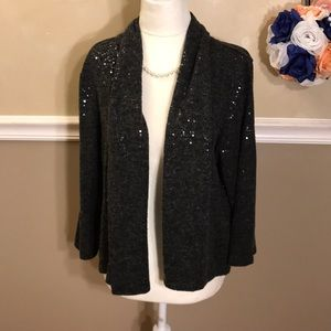 Ruby Rd. Sequin open front cardigan sweater